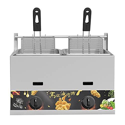 Friteuse à gaz à Deux cylindres, friteuse Commerciale de 22 litres et 2 paniers de friture en Acier Inoxydable friteuse épaisse en Acier Inoxydable Chauffage au GPL pour Les Frites