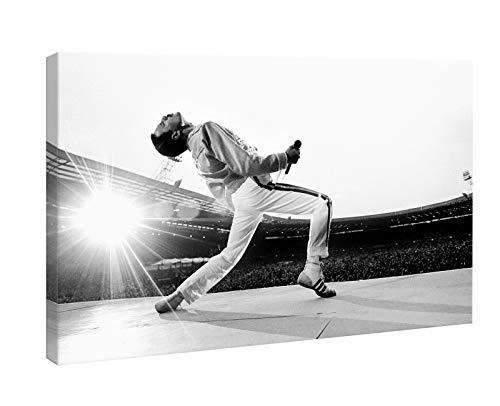Bild Freddie Mercury Queen Wembley 1986 - Druck auf Leinwand HD - fertig zum Aufhängen - weiß und schwarz - 70 x 45 cm - Musik - Made in Italy
