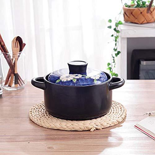 COMPY Casserole Pierre Hot Pot Flamme Nue poterie Soupe ragoût de Riz au Lait ragoût poêle cuisinière Casserole Style Japonais résistant à la Chaleur, cocotte 2.5L