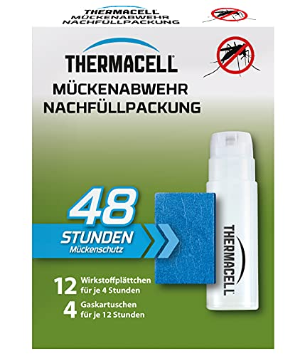 Thermacell Mückenabwehr Nachfüllpackung für 48 Stunden (12 Wirkstoffplättchen und 4 Gaskartuschen), Mehrfarbig