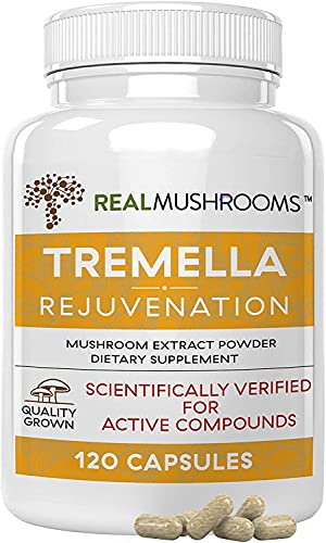 Tremella Mushroom Extract by Real Mushrooms, Mushroom Supplements for Immunity Support, Brain Support, and Healthy Skin, Vegan, Non-GMO, Verified Levels of Beta-Glucans (120)