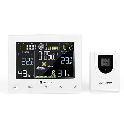 Tecvance Funkwetterstation mit Farbdisplay und Außensensor Innen- und Außentemperaturanzeige Inkl. Batterie und Netzteil - horizontal, weiß