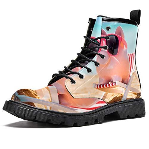 LORVIES Hucha rosa con gafas de sol, butacas altas para hombre, zapatos con cordones de piel, (multicolor), 41 EU