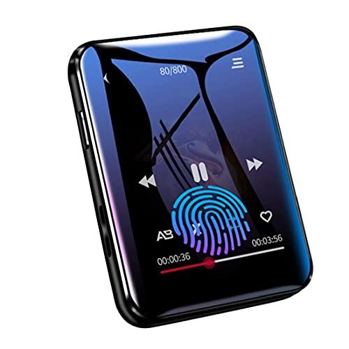 Tuimiyisou MP3 acústica Bluetooth Reproductor de música con 4G de Almacenamiento de Pantalla táctil Completa fácilmente Llevado FM Radio grabadora de música Reproducción Negro