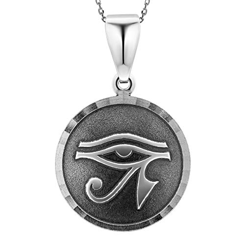 LillyMarie Femme Plata de ley 925 Colgante Amuleto la Suerte ojo Egipcio Udjat Negro Longitud-ajustable Satén los Bolsos ? Regalos Para Mujeres?