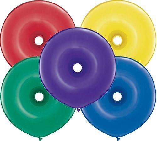Qualatex 16 Geo Donut Latex Balloons, Radiant Jewel Assortment - by Qualatex
