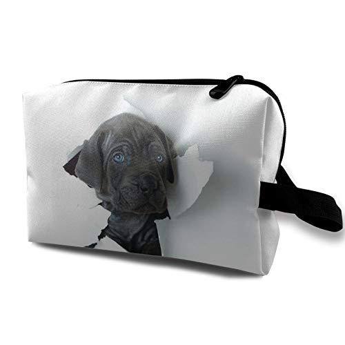 Bolsa de almacenamiento de lona de maquillaje de viaje, bolso de aseo portátil, pequeño organizador de cosméticos, bolsa de monedas para niñas, mujeres y hombres, precioso labrador cachorro niños