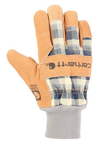 Carhartt Women's Insulated Suede Work Glove with Knit Cuff, navy plaid, Medium