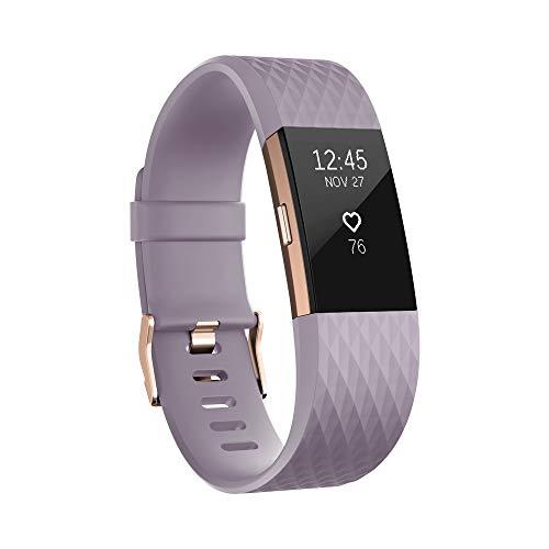 Fitbit Charge 2 Pulsera de Actividad física y Ritmo cardiaco, Unisex Adulto, Lavanda/Oro Rosa, L