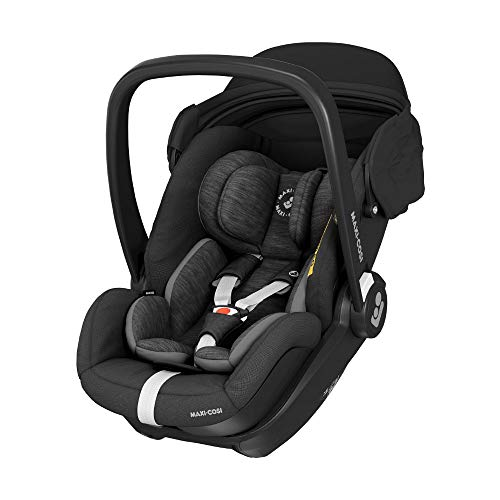 Maxi-Cosi Marble Babyschale, i-Size Baby-Autositz mit 157° Liegefunktion, Gruppe 0+ (40-85 cm / 0-13 kg) nutzbar ab der Geburt bis ca. 13 Monate, inkl. Marble Isofix Basisstation, essential black