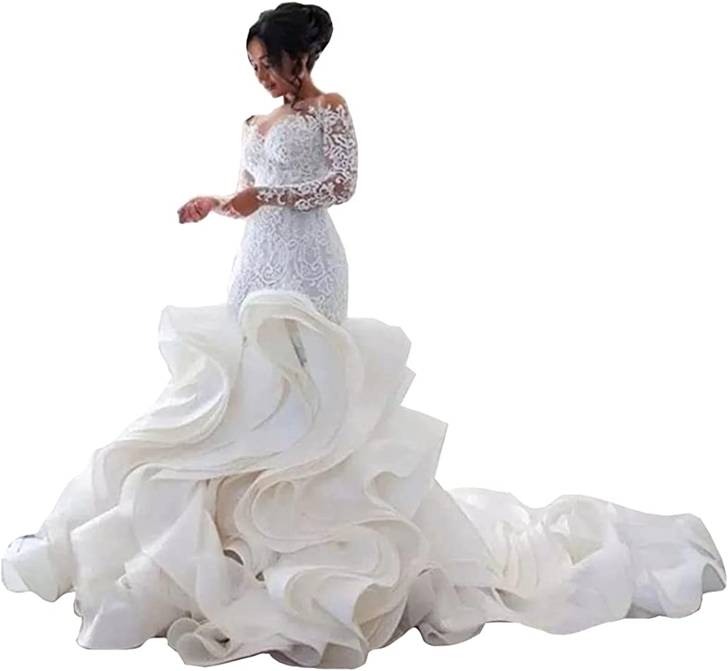 Long Sleeves Lace Corset Bridal Ball Gown Ruffles Train Mermaid Wedding Dresses for Bride 2021 Plus Size