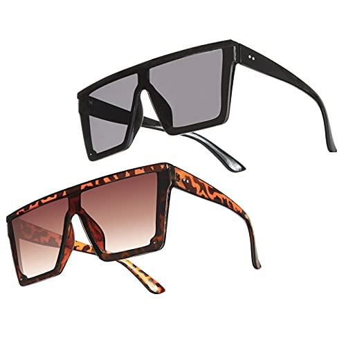 Weinsamkeit 2 Pares Gafas de Sol Cuadradas de Moda UV400, Gafas de Sol Grandes Planas de Gran Tamaño para Mujeres Hombres