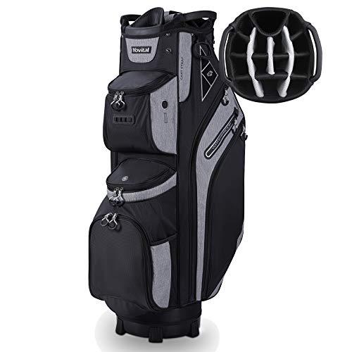 14 Way Golf Cart Bag for Push Bag Classy Design Full Length with Cooler, Rain Hood, Putter Well Black
