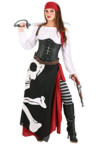 Women's Pirate Costume Jolly Roger Flag Pirate Costume for Women Large Black