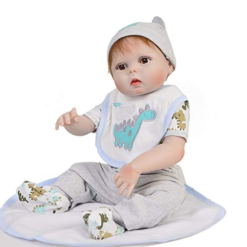 OD.zepp Reborn Baby Doll 23 Inch (57Cm) Real Reborn Baby Doll Full Silicone Vinyl Body Realistic Alive Baby Reborn Doll para niños Playmate Toys Gift