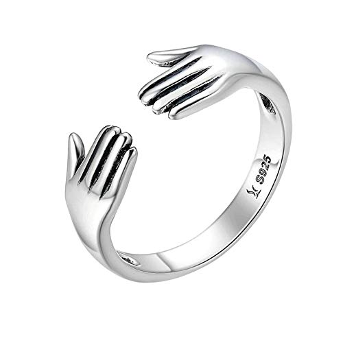 Harilla Unisex Hugging Hands Open Ring Novelty Silver Rings Adjustable Opening Ring Couple Gift Jewelry Accessories Stacking Ring for Women Men