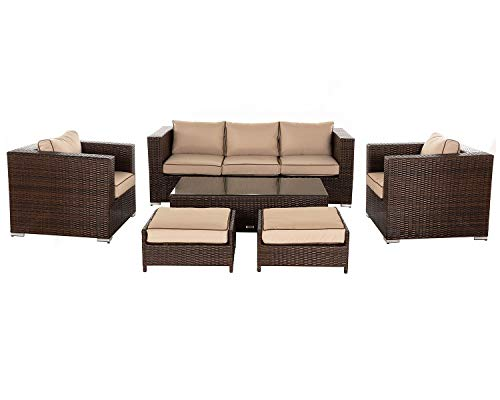 Rattan Garden Furniture, 6 Piece Ascot 3 Seater Sofa Set inc FREE Outdoor Covers in Brown