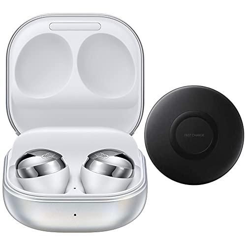Samsung Galaxy Buds Pro 2021 (ANC), cancelación de ruido activa, auriculares inalámbricos Bluetooth para iOS y Android, modelo internacional SM-R190 (paquete de almohadilla de carga inalámbrica) (Phantom Silver)