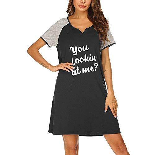 HUANSUN Vestidos Casuales para Dormir 2021 Moda de Verano MiniVestidoCortoLetra Impresa Vestidos Cortos Negros Cómodo camisón Suelto, Negro, XXL