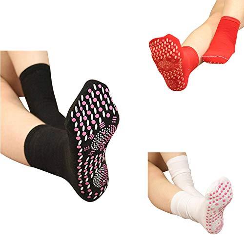 Magnetic Socks - Self Heating Socks for Unisex Women Men Winter Magnetic Therapy Socks Warm Soft Comfortable Socks Anti-Freezing Outdoor Socks (3 Pairs+ White red Black)