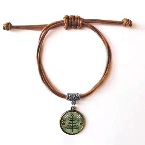 Diythinker - Pulsera de piel con diseño de árbol de Navidad, color marrón