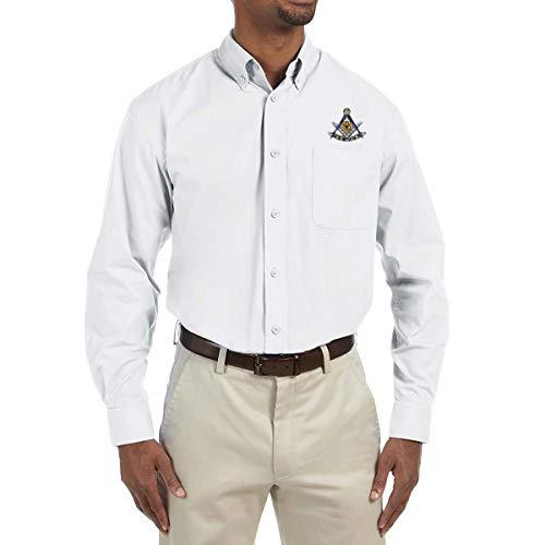 The Masonic Exchange Past Master Herren Popeline-Hemd mit quadratischem und Winkelmesser, Bestickt - Weiß - 3X-Groß