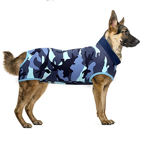 Recovery Suit Hund, Kleidung für Genesung nach der Operation E-Kragen Alternative für Hunde Haustiere Kleidung Innenraum (L, Camouflage Blue)