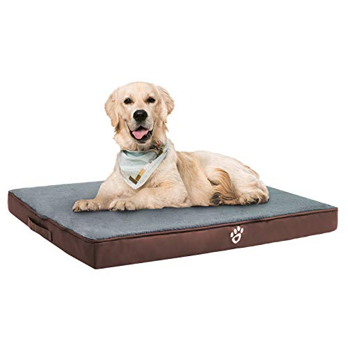 TR pet Large Orthopedic Dog Bed for Small, Medium, Large Dogs up to 40/80/100 lbs| Washable Pet Mat for Dog Crates |Outdoor Egg-shell Pet Foam Mattress with Removable Cover | Faux Fur Sleeping Surface