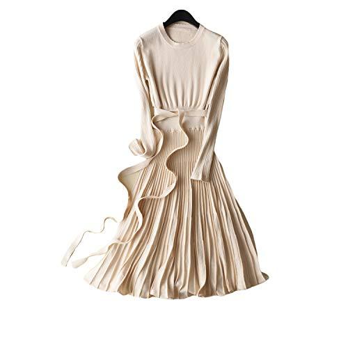 rongdushijia Sukienka z dzianiny z długim rękawem 2020 jesień i zima nowa okrągła szyja średniej długości sznurowana smukła dół wysoki damski sweter spódnica