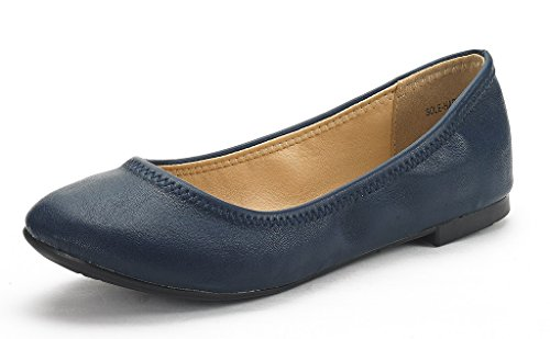 DREAM PAIRS Sole-Happy New Women's Flexible Stretch Topline Comfort Ballerina Flats Shoes Navy Size 10