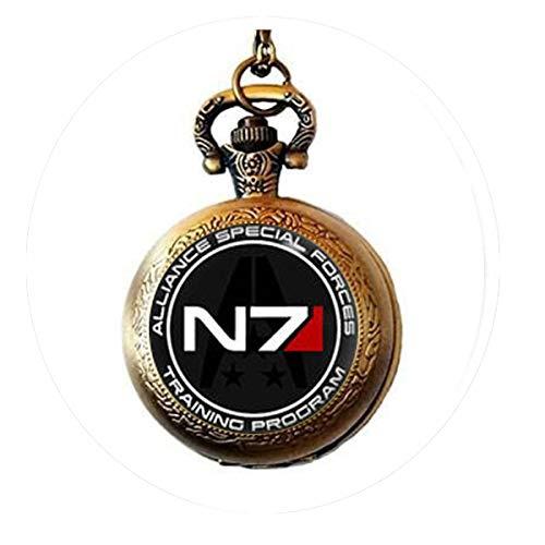 bab Mass Effect, N7 N7 Pendientes de Tuerca, Efecto Masa, Regalos de Arte, Regalo de Abanico Reloj de Bolsillo Collar