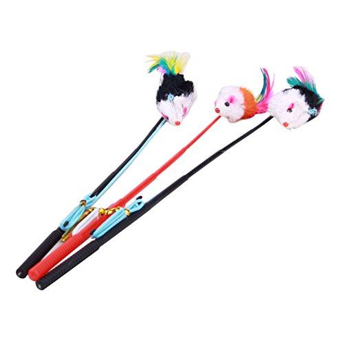 jj Store Pet Cat Bell il pendente Faux mouse asta in cordata divertente Fun Play gioco giocattolo colore casuale