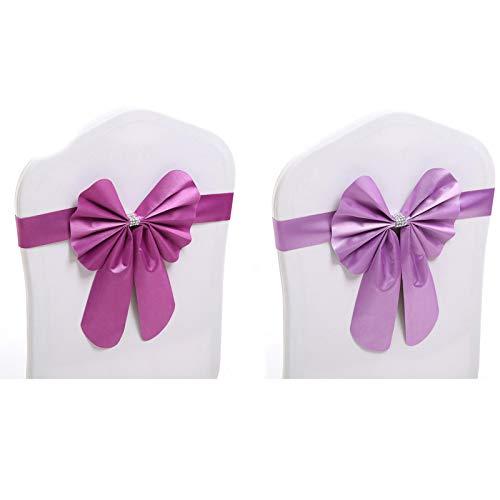 JSSEVN 20 Stück Stuhlhussen mit Schleifen Stretch Schärpen Dekoration Satin Schleifen für Events und Party Dekoration