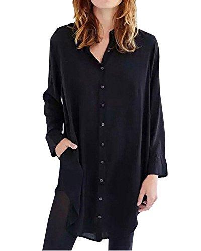 ZANZEA Langarmshirt Damen Oversize Hemd Bluse Casual Button Down Tunika Oberteile Longshirt Knopfleiste Einfarbig Schwarz-465891 EU 38-40