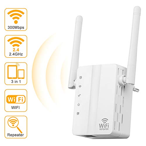 Lankerx Amplificador Señal WiFi - Repetidor WiFi 300Mbps Amplificador WiFi 2.4GHz,Extensor de WiFi,con Ethernet WAN/LAN, WPS, Soporte de Antenas Duales Ap/Repetidor/Enrutador/, Enchufe y Ejecute