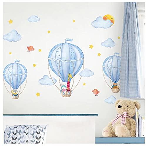 KBIASD Globos de aire caliente pegatinas de pared DIY dibujos animados nubes calcomanías de pared para habitaciones de niños bebé dormitorio guardería decoración del hogar 90x50 cm