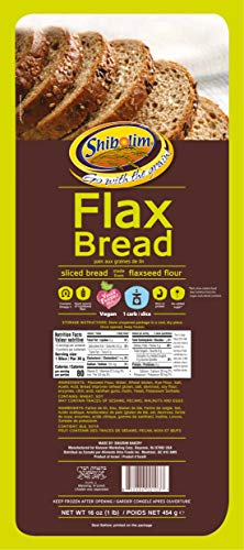 Shibolim FlaxSeed Bread (1 Pound) Low Carb, Only 1 Net Carb Per Serving, Keto Friendly, Rich in Fiber & Protein, Vegan