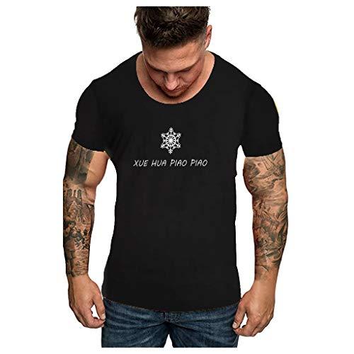 Floweworld Grafik-Shirts für Männer Lustige Vintage-Schneeflocken-Print-T-Shirts Sommer Kurzarm Plus Size Teen Girls Trendy Tees Tops Herren Bequeme und atmungsaktive lose Tunika