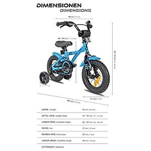 Prometheus Kinderfahrrad 12 Zoll Jungen Mädchen Blau Schwarz ab 3 Jahre mit Rücktritt Stützräder - 12zoll BMX Modell 2020