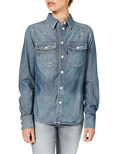 G-STAR RAW Kick Back Worker Camisa, Antic Faded Aegean C611-c244-Figura Decorativa (Pintada...