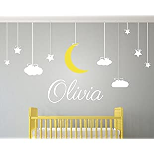 Childrens Wall Art - Nursery Decor - Wall Stickers Nursery - Kids Wall Sticker - Clouds, Moon and Stars with name Wall Sticker:Btc4you