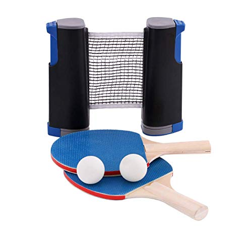 Soul hill 1 Mesa de Ping Pong Neto Set, 3 Bolas de Ping-Pong, 1 par de Tenis de Mesa paletas, instantáneo retráctil Rack de Accesorios Clip de la Raqueta Portable de la Abrazadera zcaqtajro