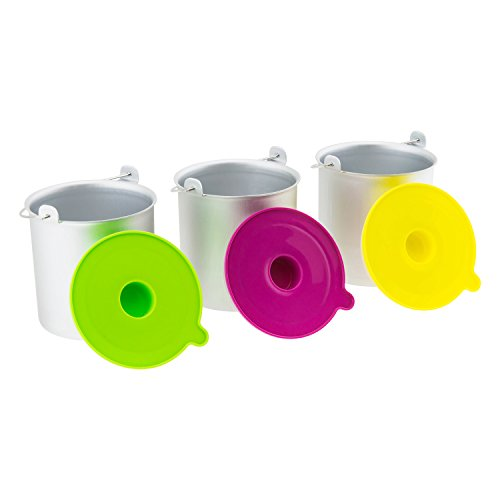 H.Koenig Eisbehälter BO318, passend für Eismaschine HF180 - 1 L - 3x Behälter in silber, Deckel in grün, pink und gelb