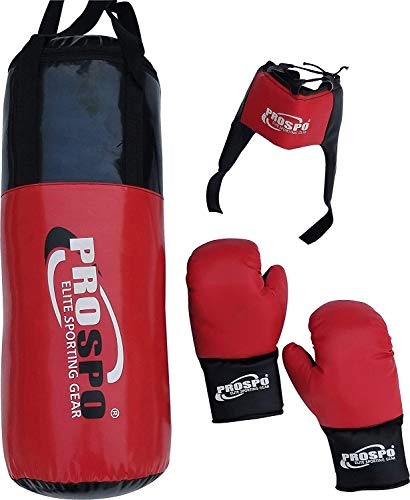 PROSPO Leather Boxing Set Kit for Youth (7-12) Years Old, (Black Red)
