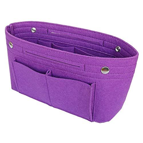 Organizador De Fieltro Multifuncionales Bolsillos De Viaje Ordenado Bolsos Insertar Portátil Cosmético Maquillaje Almacenaje (Purple,XXL)