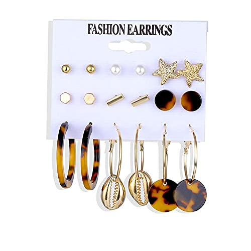 FEARRIN Pendientes de aro Vintage Conjunto de Pendientes Brincos Pendientes de Perlas de Concha para Mujer Pendientes de aro con borlas de Leopardo Joyería Kolczyki Femenina LNI0907-1