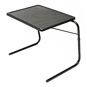 Table Mate V TV Tray Extra Large Folding Wheelchair and Overbed Table Adjustable to 6 Heights 3 Angles for Multipurpose Use  Black