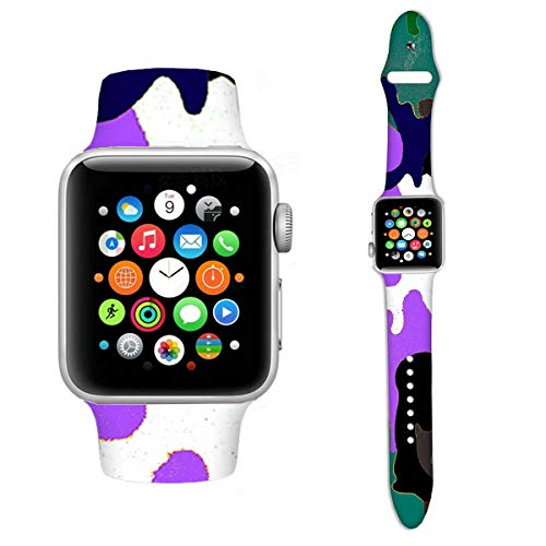 Girlsight Compatible with Apple Watch Band 38mm 42mm 40mm 44mm Sport Band, 159.Camouflage Art Colorfu Pattern Silicone Sport Strap Replacement Bands Compatible for iWatch Series 4/3/2/1 S/M M/L