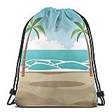 XCNGG Bolsas con cordón Bolsa de deporte deportiva Bolsa de viaje, Paisaje marino de dibujos animados con océano y palmeras Imagen encantadora de ocio de verano