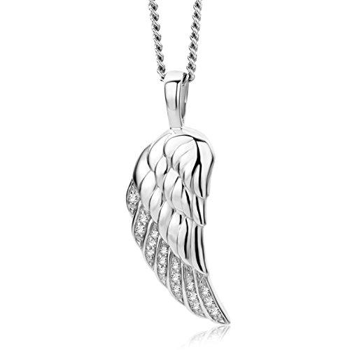 Miore Kette - Halskette Damen Kette Silberfarbig 925 Sterling Silber Flügel  45 cm